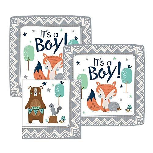 It's a Boy Woodland Baby Shower Paper Dessert Plates and Paper Napkins, 16 Servings, Bundle- 3 Items