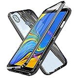 Kompatibel für Xiaomi Mi Mix 3 5G Hülle, Magnetische Metallrahmen 360 Grad Handyhülle Vorne & Hinten Gehärtetes Glas Handyhülle Stark Magnetic Hülle Panzerglas Doppelseitige Hülle, Schwarz