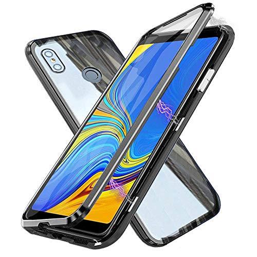 Funda para Xiaomi Mi Mix 3 5G, Adsorción Magnética Cubierta Vidrio Templado Frontal y Posterior Flip Case Marco Metal Bumper Funda Anti Choque Protección 360 Grados Carcasa, Negro