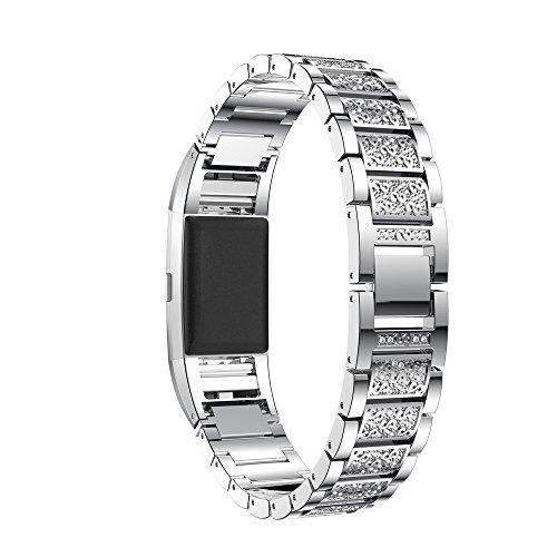 Vovotrade Voor Fitbit Charge 2 echt roestvrij stalen armband intelligent horlogebandje voor Fitbit Charge 2 (zilver1)