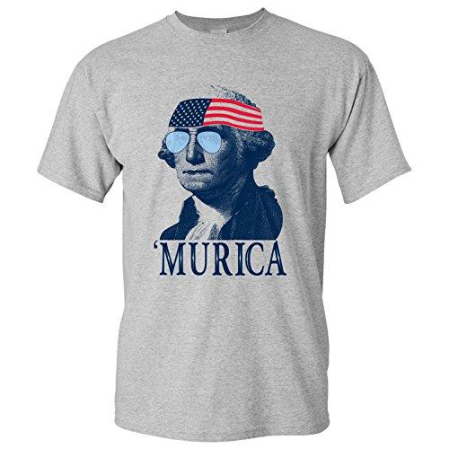 UGP Campus Apparel George Washington Murica Basic Cotton T-Shirt - Large - Sport Grey