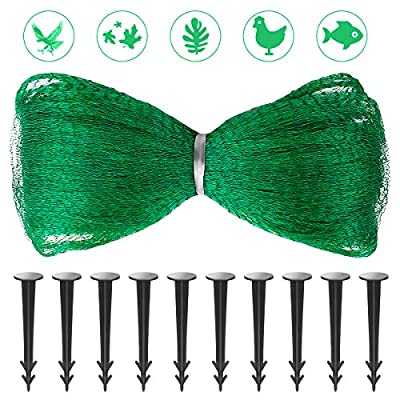 Richoose Anti Bird Net 44 ft x 16.5 ft Reusable Plants Protection Net, Pond Netting - Garden Netting Protect Fruit Vegetable Flowers from Birds Pecking Including 10 Fixing Stakes
