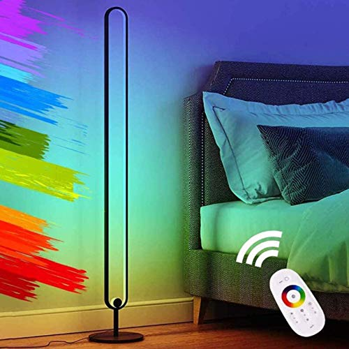 XXLYY Lámpara de pie Que Cambia de Color RGB Lámpara de Esquina de pie Inteligente LED Regulable, con Control Remoto para Sala de Estar, Dormitorio