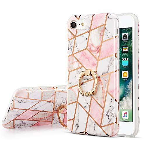 ZTOFERA TPU Funda trasera para iPhone 6 Plus/iPhone 6S Plus, mármol y línea dorada patrón suave TPU caso con soporte de anillo, cubierta protectora delgada para iPhone 6 Plus/6S Plus - mármol blanco