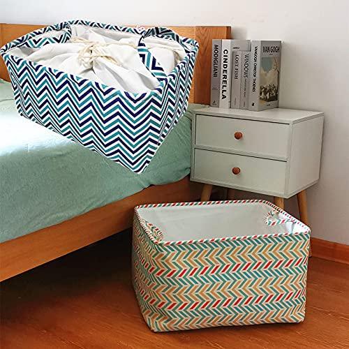 ZS ZHISHANG Caja de almacenamiento de tela de marco de acero para ropa sábanas manta almohada titular de zapatos organizador contenedor
