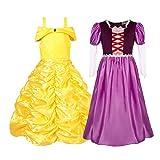 FINDPITAYA Lote 2 Vestidos Reina 2, Belle bestia Elsa Anna Vestido Auro Cindella Tangled Costume Jasmine Moana y Elena, Disfraz de Niña, Disfraz de Cosplay de Navidad de Halloween (Morado, 7-8 años)