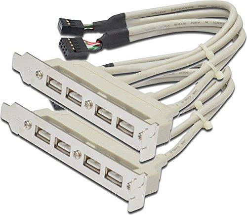 DIGITUS 2X USB Slotblechkabel, 4X Typ A - 2 x 10pin IDC, 0.25 m lang, USB 2.0 kompatibel, beige