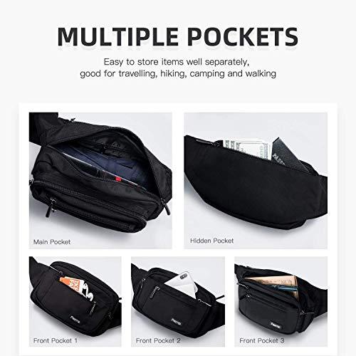 FREETOO Bum Bag Waist Fanny Pack for Men Women Waist Bag with 6 Zipped Pockets Waterproof Bumbag for Dog Walking Running Hiking Travel Holiday