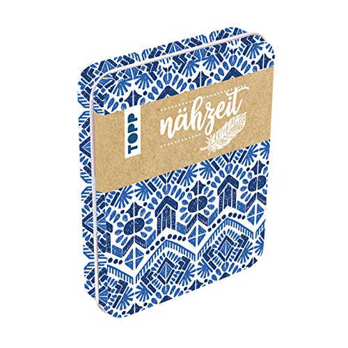 Nähzeit Reise-Nähset mit Metalldose Blau/Weiß: Metalldose (ca. 12,5 x 9,5 cm) mit Schere, Maßband, Nahtauftrenner, Nähgarn, Nadeln, Einfädelhilfe und Sicherheitsnadeln