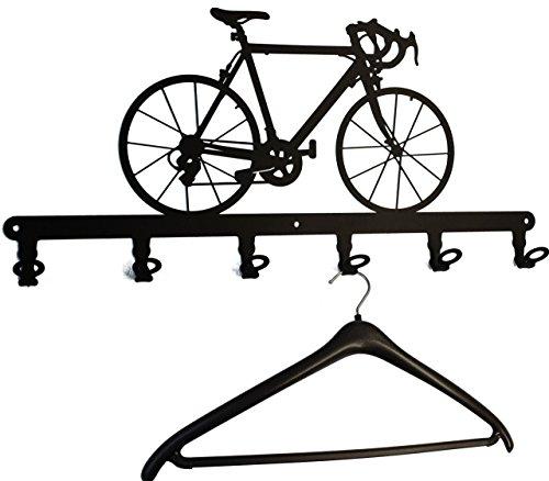 Wandgarderobe - Rennrad, Fahrrad - Flurgarderobe, Garderobenhaken, Hakenleiste, Garderobenleiste, Garderobenhalter, Kleiderhaken, Garderobe - Metall (schwarz)