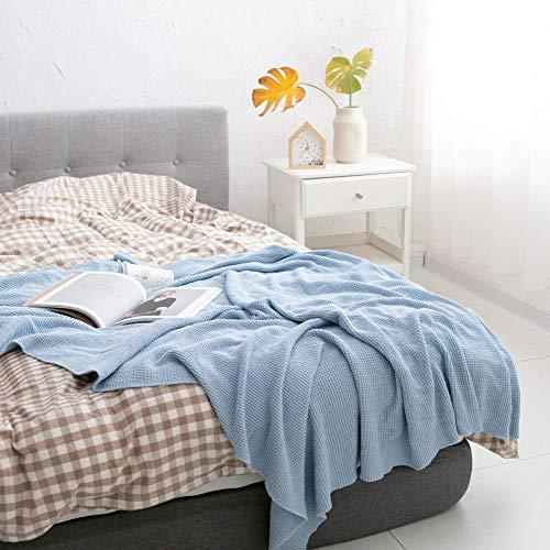 NA MYBH decoración del hogar Manta de Punto de Siesta de algodón Manta de sofá de Color sólido cálido y cálido Manta de Aire Acondicionado Azul Claro 130 * 170 cm