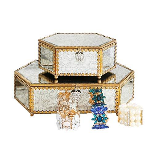 XXLZBSNH Sieradendoos Europese minimalistische Metalen glas Model kamer zachte decoraties Slaapkamer dressing tafel decoratie Tafel/nachtkastje sieradendoos