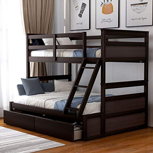 P PURLOVE Twin Over Full Bunk Bed with Stairs Wood Bunk Bed Frame with 2 Storage Drawers Safety Rails for Girls and Boys Teens (Espresso)