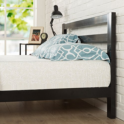 Zinus Arnav Modern Studio 10 Inch Platform 2000H Metal Bed Frame / Mattress Foundation / Wooden Slat Support / With Headboard / Good Design Award Winner, Twin