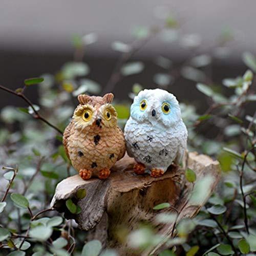 weichuang Nocturno de búhos artesanías para mini jardín de hadas acuario pecera animal estatua de resina artesanía miniatura figura