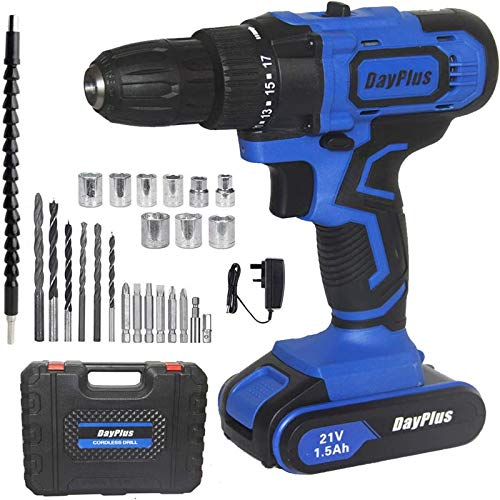 Mini Cordless Drill Bits Set Kit, Combi Electric Drill w/Hammer Action Magnet, 29Pcs Accessory Kit, 21V 45N.m Rechargeable Battery Impact Power Tool, Fast Charger, 18+1 Torque Setting, LED Work Light