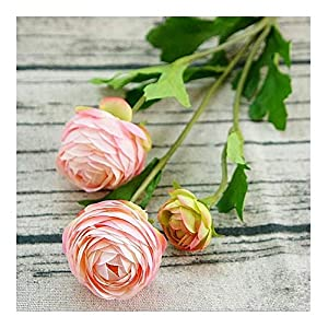 Liusujuan 3Heads Artificial Ranunculus Asiaticus Rose Fake Flowers Silk Flores Artificiales for Wedding Room Home Hotel Party Event Christmas Decor