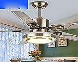 Ventilador de techo de acero inoxidable, lámpara Lámpara fan restaurante salón lámpara, LED de ventilador de hoja simple y moderno Candelabro,acero inoxidable control remoto