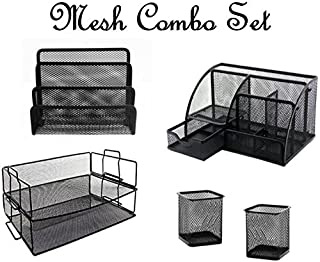 Mesh Organizer 5 Piece Combo Set - All In One! Black Mesh Office Supplies Holder, Storage and Trays. Letter Sorter/Pen Pen...
