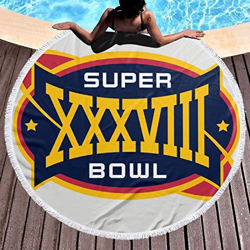 Super Bowl NFL Manta de microfibra de secado rápido, duradera para viajes, picnic, camping, senderismo, redondo, diámetro de 132 cm