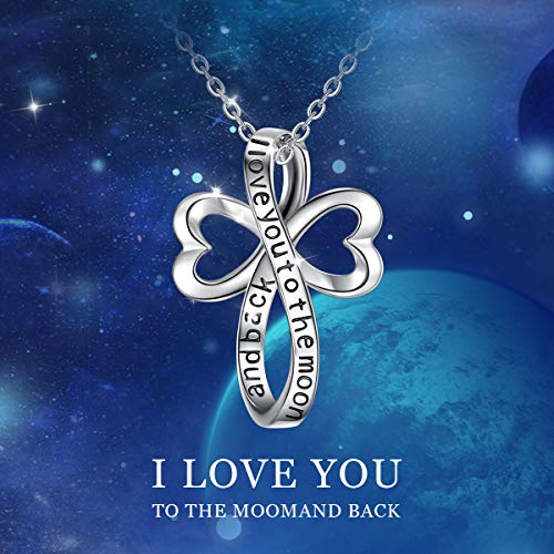 """Croix de Noeud Celtique, chaîne de 18 """"  EUDORA Argent Sterling 925 I Love You to The Moon and Back - 3"""