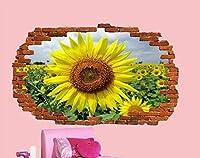 NIUASH ウォールステッカー ひまわり畑風景ウォールステッカー3Dアートポスター部屋装飾デカール壁画60x90cm 60x90_cm