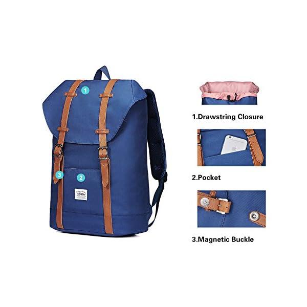 "51HwTquof7L. SS600  - KAUKKO Mochila Casual Mochila de Estudiante Ligero 16"" Laptop Bolsa al Aire Libre para Viajar/Deporte/Cámping (Azul)"