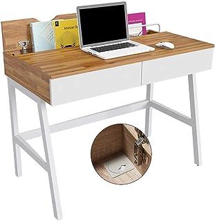 パソコンデスク スクエアコンピュータ表デスクトップ表シンプルなベッドテーブルデスクゲームテーブルダブル引き出しストレージ (Color : Brown, Size : 100*76*55cm)