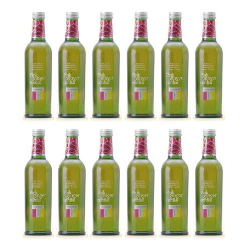 ソーンクロフト ハーブコーディアル(THORNCROFT HERB CORDIAL) ピンクジンジャー グラス(ビン) 1ケース(375ml×12本) [イギリス産]