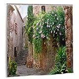 LINARUBE Cortina de baño,20 Paseos románticos en la Costa Brava Juego de decoración de baño de Tela con Ganchos 150cmx180cm