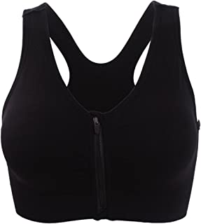 ohlyah Women's Zipper Front Closure Sports Bra Racerback Yoga Bras