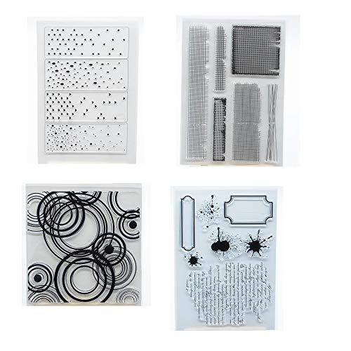 Welcome to Joyful Home 4pcs/Set Background Rubber Clear Stamp for Card Making Decoration and Scrapbooking