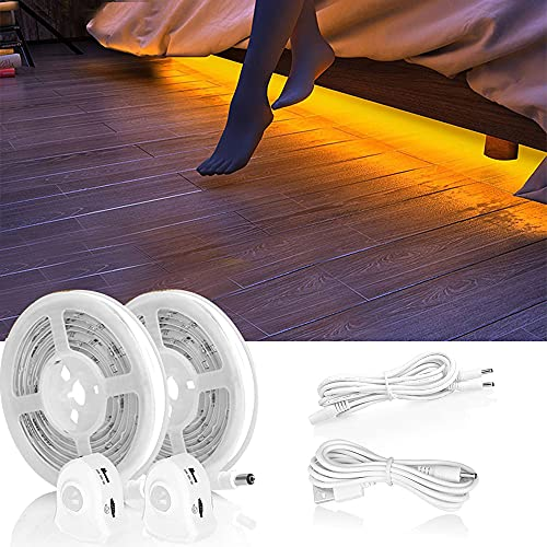 LED Bettlicht mit Bewegungssensor, Bett Lichtleiste Nachtlicht Baby Steckdose Streifen Dimmbar, Bewegungsmelder Licht Leiste, Baby Licht Bett Warmweiß (2PC) (1,2M 2pack)