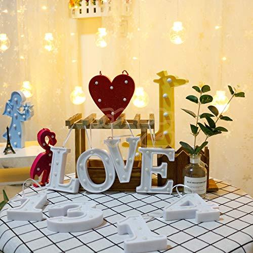 LED-Lampentisch weiß Grandforation Schriftzug Buchstabe klein Farbe Licht mit Glitzer Liebe Herzform Baumwolle RAM Surprise Layout