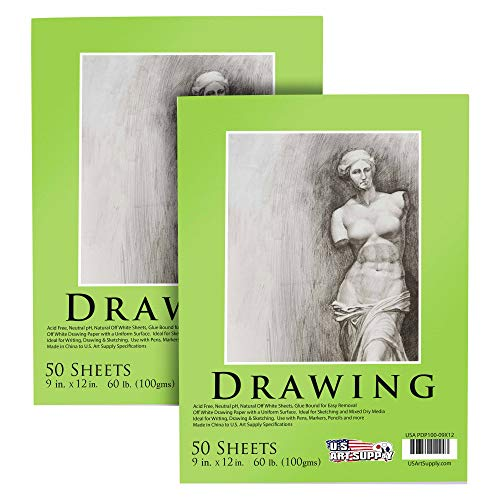 U.S. Art Supply 9' x 12' Premium Drawing Paper Pad, 60 Pound (100gsm), Pad of 50-Sheets, Great for All Mixed Media Uses (Pack of 2 Pads)