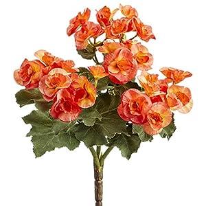 10″ Silk Begonia Flower Bush -Orange (Pack of 12)