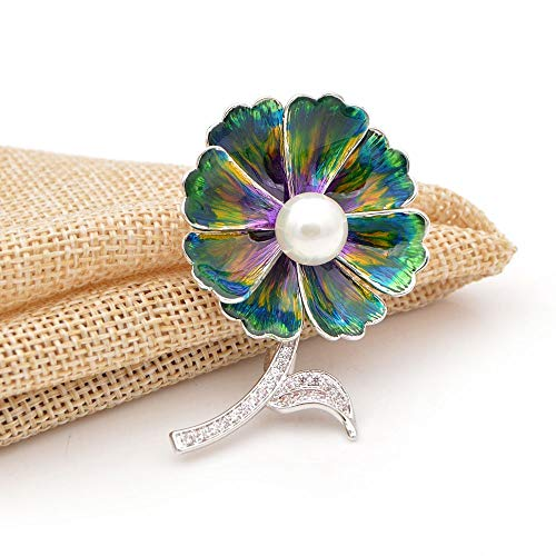 THTHT Zirkonia bloem broches voor vrouwen emaille mode pin koper materiaal huwelijk corsage hoge kwaliteit