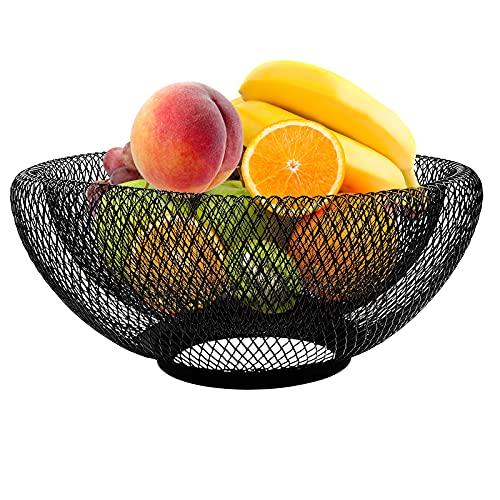 Jroyseter Frutero de Metal Cesta de Frutas Hierro Forjado Almacenamiento para Aperitivos Verduras Centro de Mesa Encimera Decoración para Bocadillos Pan Frutas