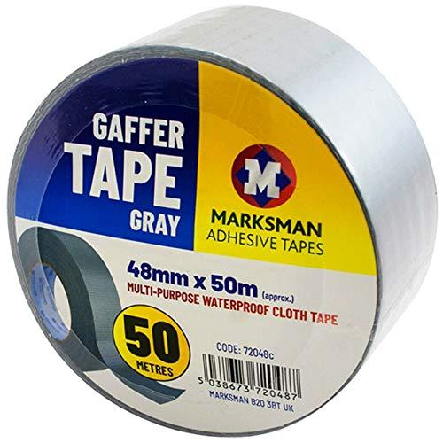Marksman - Cinta adhesiva resistente al agua para manualidades, 48 mm x 50 m, color negro, blanco, plateado, gris, resistente, resistente, para reparación de constructores