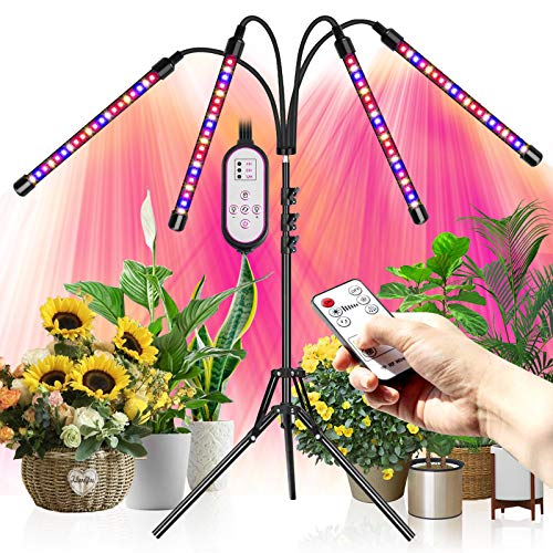 Grow Light, Led Grow Lights with Stand,Plant Light for Indoor Plants Growing Lamps Full Spectrum Led Grow Light with Adjustable Tripod and 4/8/12h Timer for Indoor Tall & Large Plants