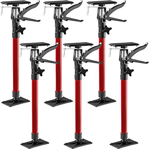 TecTake Türspanner Teleskopstange | stufenlos verstellbar | leichte Handhabung - Diverse Modelle (6er Set rot| Nr. 402617)