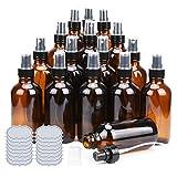 Amber Glass Spray Bottles 4oz ULG Brown Glass Bottle Fine Mist Sprayers Empty Spray Atomizer for Essential Oils Including Waterproof DIY Labels 16 Piece