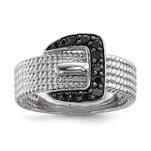 Plata de ley con cierre de anillo de diamantes en bruto de color negro - talla N 1/2 - JewelryWeb