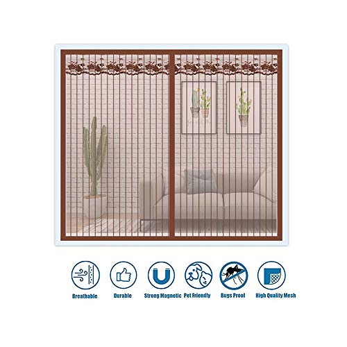 Magnetisch raamscherm, Met Magic Tape, Ventileer antistof, Glasvezel Zelfklevende Anti Mosquito Bug Insect Fly Net Gordijn, Glasvezel Anti Mosquito Bug Insect Fly Window Curtain Roll,,Brown,120x145cm(47x57inch)