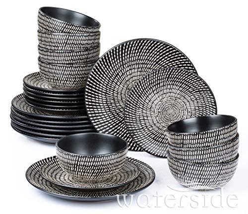 Waterside England by Retsch Arzberg/Geschirr Tafelservice Black & White/Set 24-teilig für 8 Personen/Dash Pad Print/Steinzeug/Strukturdekor schwarz-weiß