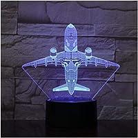 3Dイリュージョンナイトライトフェスティバルエアファイタープレーン7色ランプ子供用3DLEDナイトライトタッチUSBテーブルベビースリーピングエアカーフトギフト