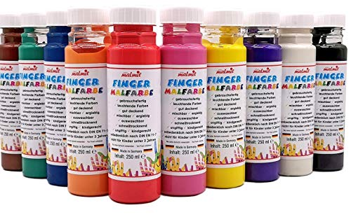 Fingermalfarbe 10er Set je 250ml Farbe Fingermalfarbe vom Hersteller € 9,96/L