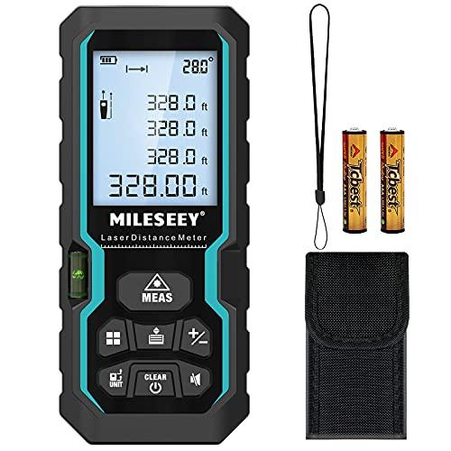 Medidor Láser 100M,Mileseey IP54 con Sensor de ángulo Electrónico Medidor Laser Digital Portátil con Niveles de Burbuja,Medidor de Distancia Láser con Pantalla LCD de 4 Líneas