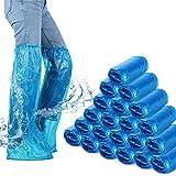 Couvre-Bottes Jetables Couvre-Chaussures Longues Plastique Couvre-Chaussures Imperméables Longues Couvre-Bottes de Pluie Bleues Couvre-Chaussures Antidérapants pour Jour de Pluie Extérieur(70 Pièces)