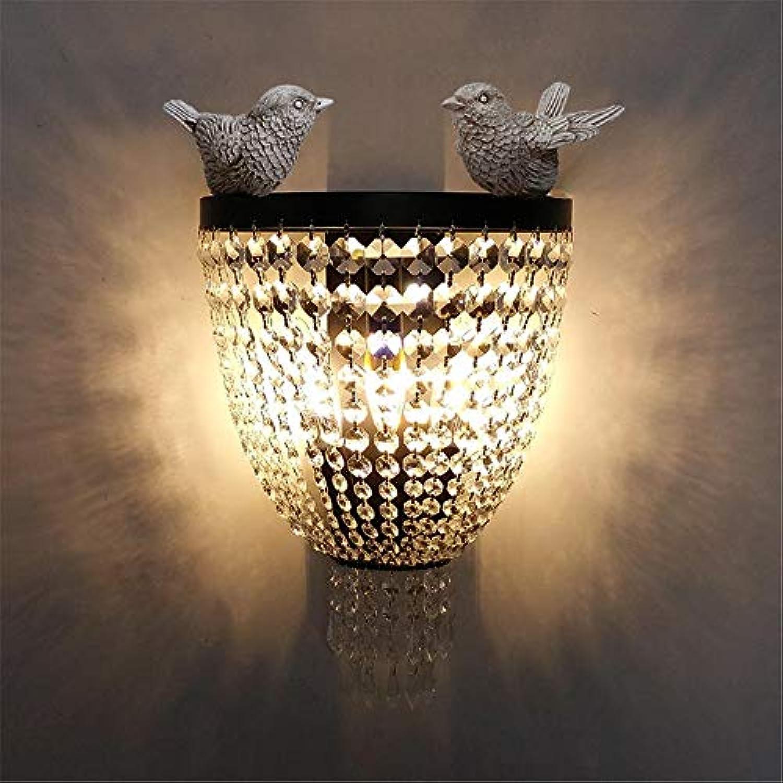 Modern LED Wandleuchte Kreatives Design Wohnzimmer Gang Schlafzimmer Nachttischlampe Gang Vogel Kristall Wandlampe Vintage Retro Café Loft Bar Flurlampe, Wandlampe Upaus Aluminium für Flur.